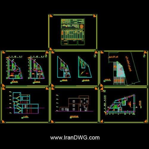 آلبوم نقشه های معماری حسینیه شماره 1 به همراه سایت پلان ، نما وبرش طراحی شده توسط شرکت مهندسین مشاور در تهران