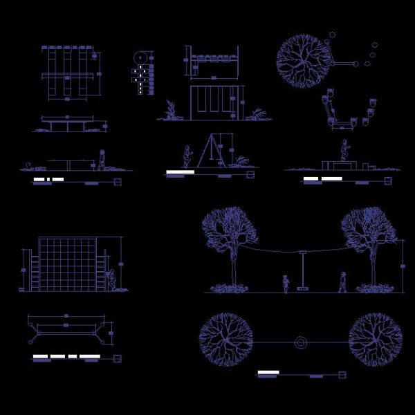 Park and Childrens Playground Autocad Block