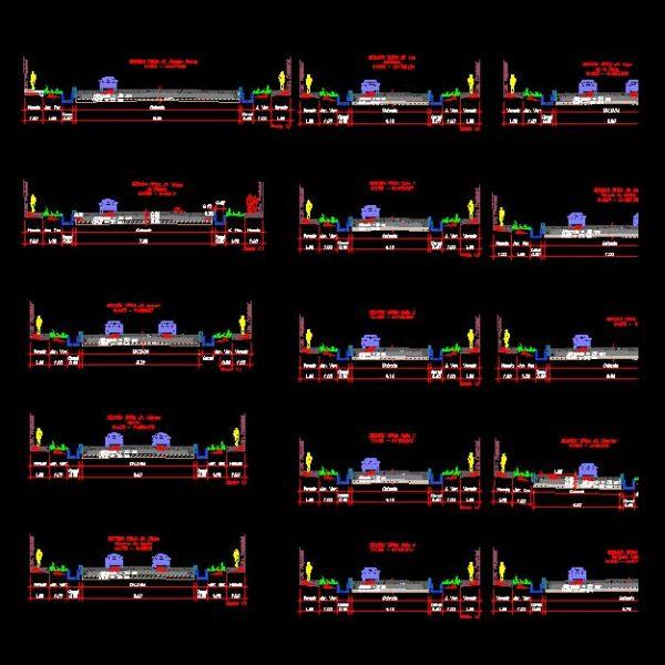 Cross Profiles of city street Autocad
