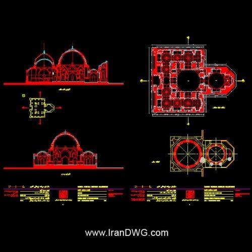آلبوم نقشه های اتوکد معماری مسجد کبود تبریز به همراه سایت پلان ، نما وبرش ارائه شده توسط سازمان میراث فرهنگی و گردشگری