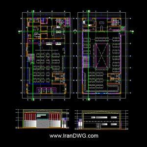 نقشه اتوکد معماری کافی شاپ