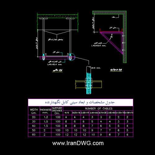 جزییات اجرایی سینی نگهدارنده کابل برق
