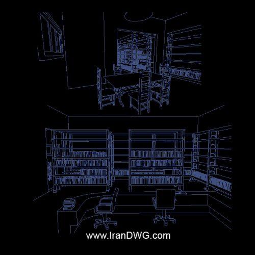 طراحی پرسپکتیو در اتوکد کتابخانه و سالن مطالعه شماره 1