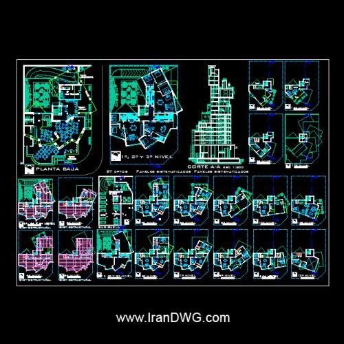 آلبوم نقشه های معماری برج مسکونی