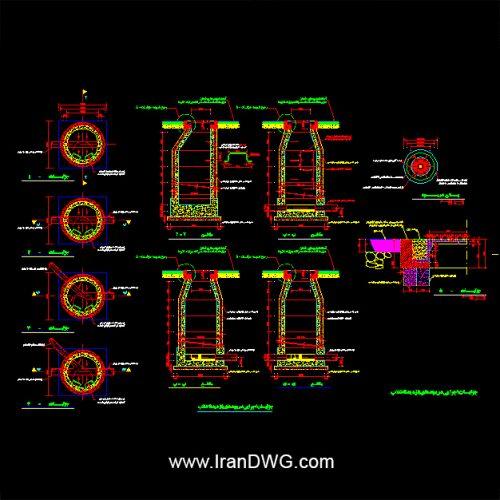 جزییات اجرایی اتوکد منهول فاضلاب شماره 1 به همراه دیتیل های سازه و تاسیسات