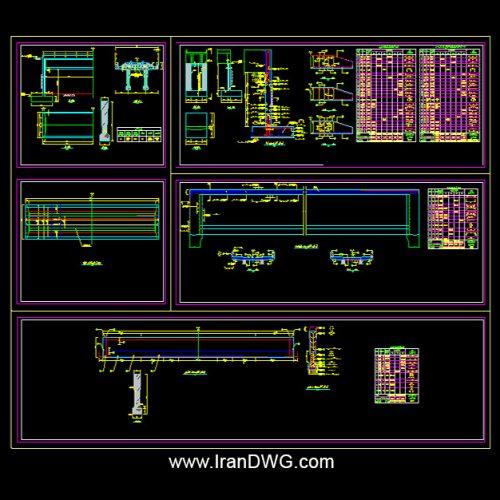 آلبوم نقشه های اتوکد سازه پل بتنی شهری طراحی شده توسط مهندسین مشاور