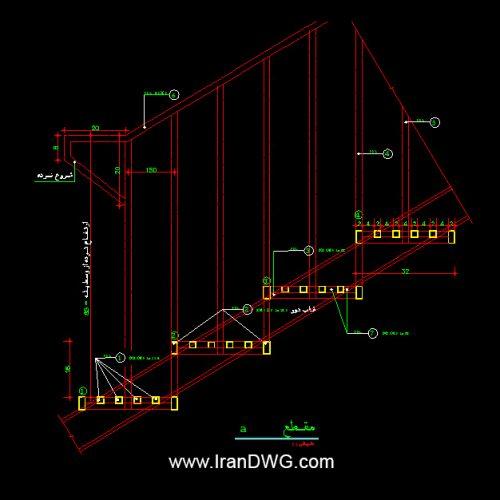 جزییات اجرایی اتوکد پله فلزی