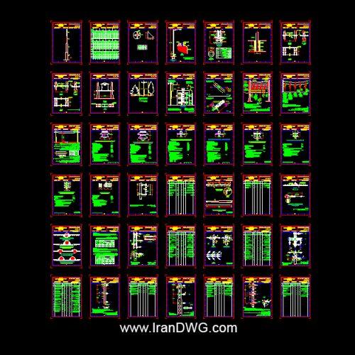 آلبوم نقشه های اتوکد توزیع برق هوایی شهری به همراه کلیه دیتیل های اجرایی