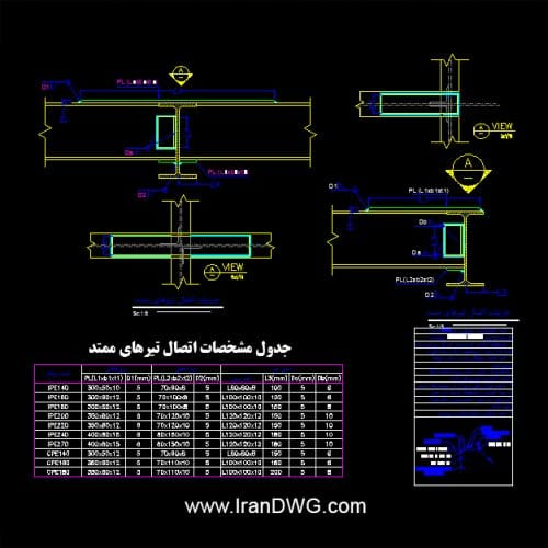 جزییات اجرایی اتوکد اتصال تیرهای ممتد به همراه جدول مشخصات و ابعاد و توضیحات اجرایی