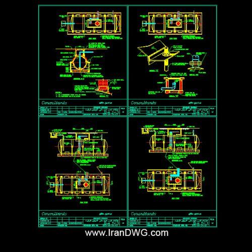 جزییات اجرایی اتوکد منبع دفنی گازوئیل ظرفیت 30000 لیتری طراحی شده توسط مهندسین مشاور