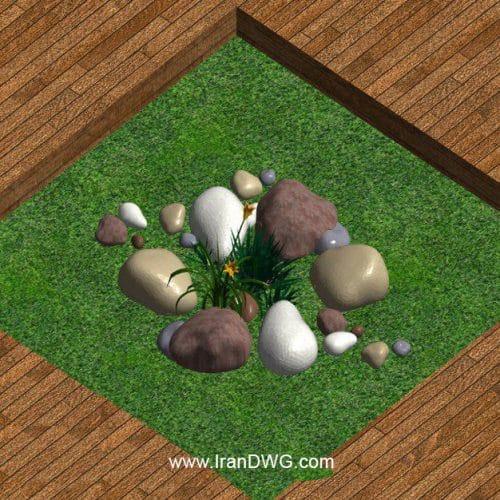 آبجکت رویت باغچه شماره 1 به همراه تکسچر چوب و چمن