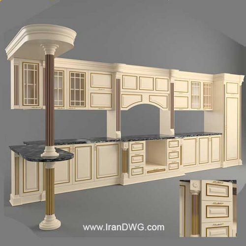 آبجکت تری دی مکس کابینت آشپزخانه کلاسیک شماره 1