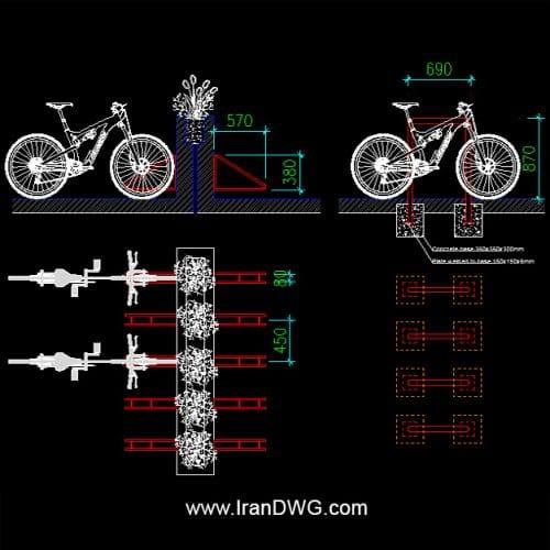 جزییات اجرایی اتوکد و نقشه ، دیتیل اتوکد پارکینگ دوچرخه