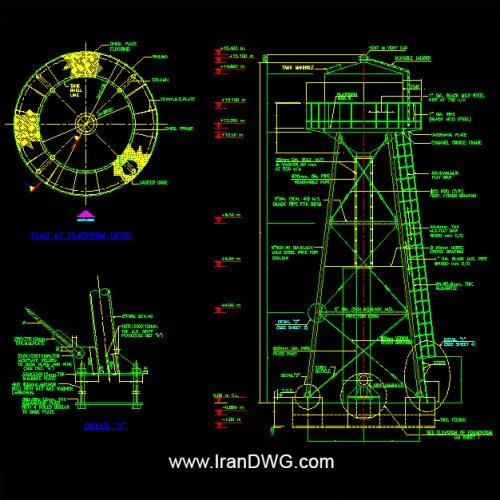آلبوم نقشه های اتوکد سازه و تاسیسات مخزن آب هوایی به همراه کلیه دیتیل های اجرایی سازه ، فونداسیون و تاسیسات مخزن آب هوایی