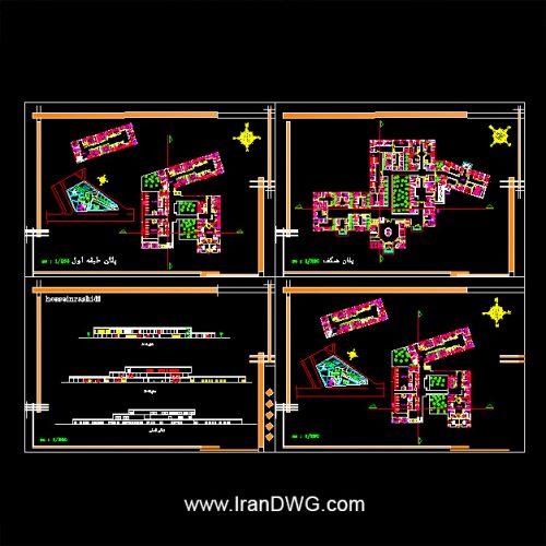 آلبوم نقشه های معماری اتوکد بیمارستان 1 به همراه نما و برش