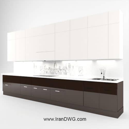 آبجکت تری دی مکس کابینت آشپزخانه شماره 4 سبک مدرن - هایگلس به همراه متریال