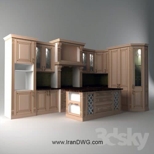 آبجکت تری دی مکس کابینت آشپزخانه کلاسیک شماره 3 به همراه متریال