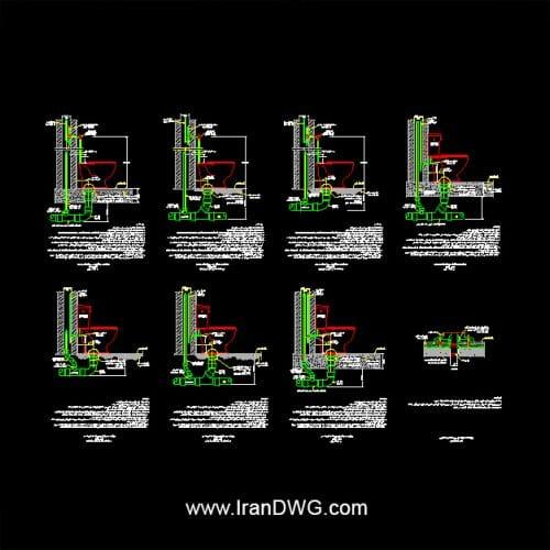 مجموعه جامع جزییات اجرایی اتوکد توالت فرنگی به همراه دیتیل ها و توضیحات اجرایی