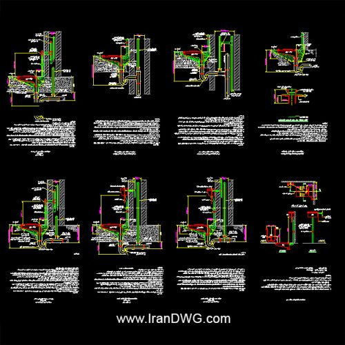 مجموعه جامع جزییات اجرایی اتوکد توالت شرقی به همراه دیتیل ها و توضیحات اجرایی