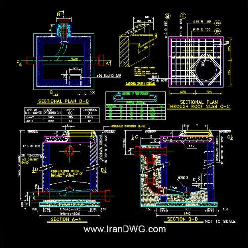 جزییات اجرایی اتوکد منهول فاضلاب شماره 4 به همراه دیتیل های سازه و تاسیسات