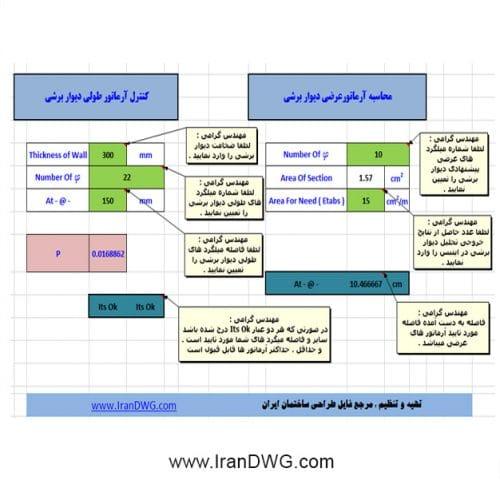 فایل اکسل کاربردی محاسبه آرماتورهای عرضی و کنترل آرماتور های طولی میلگرد دیوار برشی