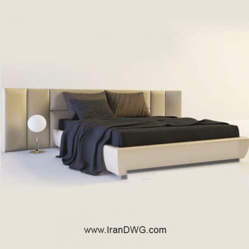 آبجکت تری دی مکس تخت خواب شماره 1 به همراه تکسچر پارجه و چوب