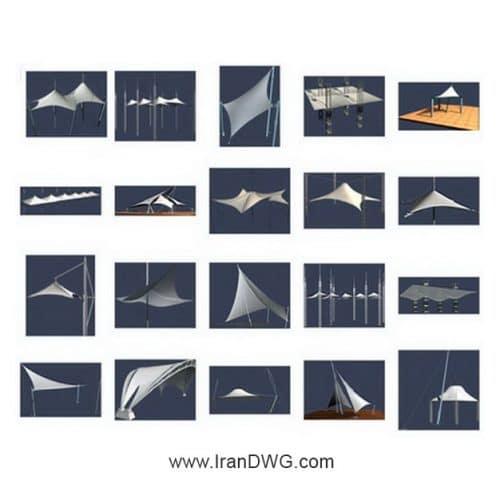 مجموعه آبجکت تری دی مکس سازه چادری ( پارچه ای کششی ) شماره 1