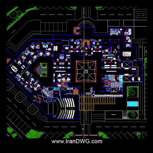 آلبوم نقشه های اتوکد معماری دادگاه ( دادسرا ) شماره 1 به همراه نما و برش