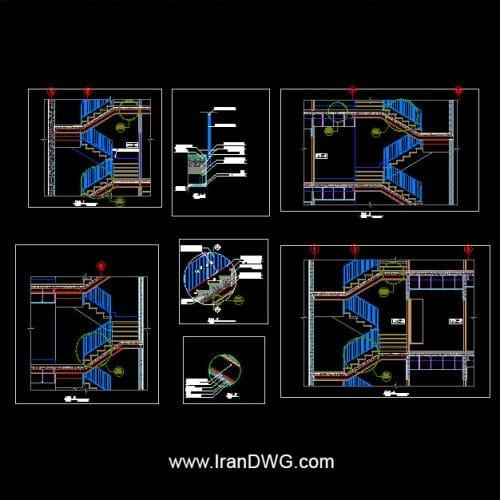 جزییات اجرایی اتوکد نرده فلزی و پله فاز 2 به همراه دیتیل های اجرایی اتصال سنگ ، اتصال نرده و ...