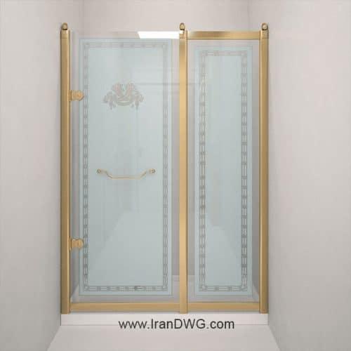 آبجکت مکس درب شیشه ای شماره 1 برای سروی و حمام به همراه تکسچر شیشه