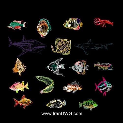 مجموعه بلاک اتوکد آبزیان دریایی در شکل های متنوع