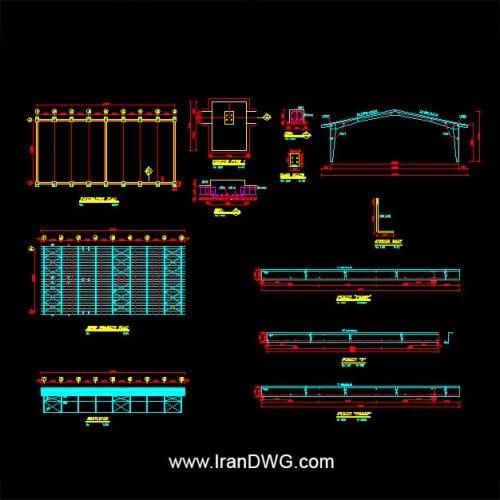 آلبوم نقشه های اتوکد سازه و فونداسیون سوله شماره 4 به همراه دیتیل های اجرایی مشخصات سوله : عرض 20 طول 48 ارتفاع 8