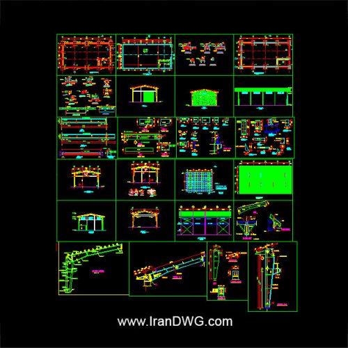 آلبوم نقشه های اتوکد سازه و فونداسیون سوله شماره 5 به همراه دیتیل های اجرایی مشخصات سوله : عرض 12 طول 24 ارتفاع 8