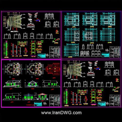 آلبوم نقشه های اتوکد سازه و معماری ویلا در شمال رامسر به همراه دیتیل های اجرایی
