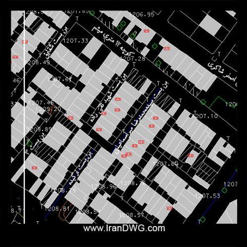 نقشه اتوکد جامع شهر یزد با تمام جزییات قطعه بندی ، معابر ، مناطق و ...