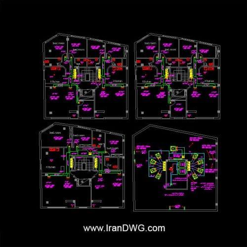 آلبوم نقشه های اتوکد تاسیسات کولر آبی شماره 1 به همراه دیتیل های کانال کشی و ابعاد