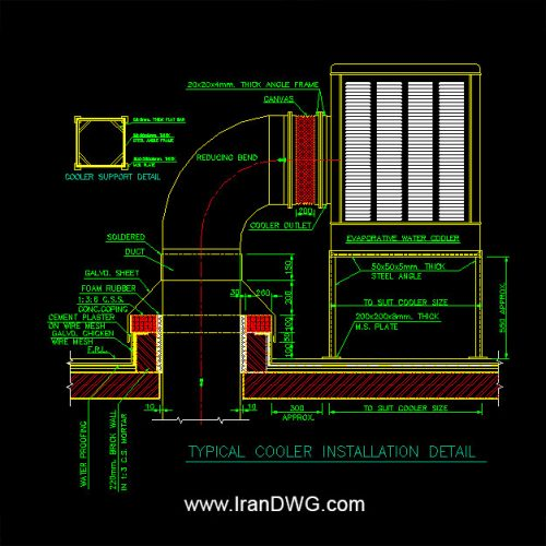 جزییات اجرایی اتوکد نصب و اجرای کولر آبی به همراه دیتیل اتصالات و نصب