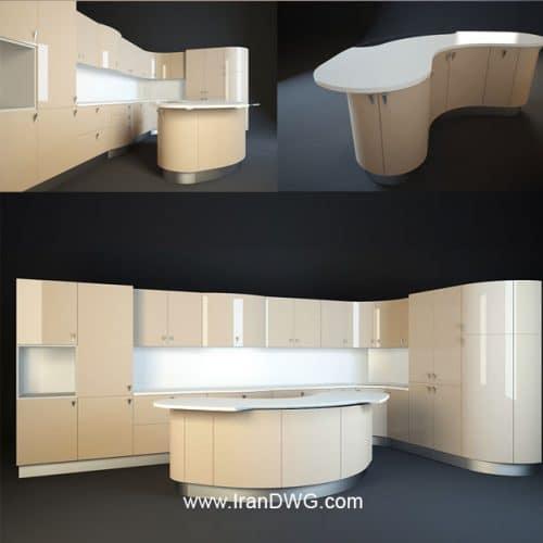 آبجکت تری دی مکس کابینت آشپزخانه شماره 6 سبک مدرن - هایگلس به همراه متریال