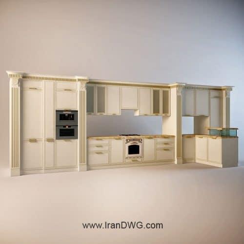 آبجکت تری دی مکس کابینت آشپزخانه شماره 5 سبک کلاسیک به همراه متریال