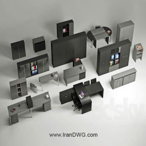 مجموعه آبجکت تری دی مکس ست اداری شماره 1 در طرح های متنوع