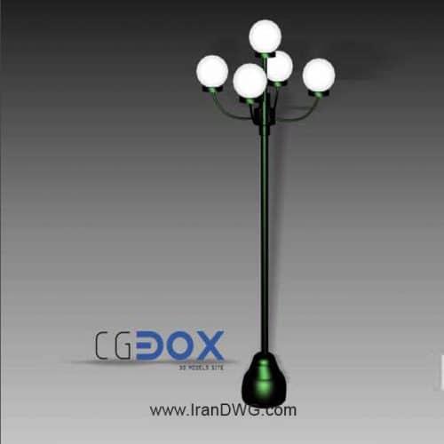 آبجکت تری دی مکس چراغ خیابان شماره 1 به همراه فایل سه بعدی اتوکد