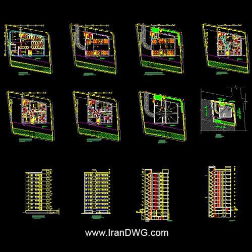 آلبوم نقشه های اتوکد معماری برج مسکونی و تجاری شماره 1 به همراه سایت پلان ، نما و برش طراحی شده توسط شرکت مهندسین مشاور در تهران