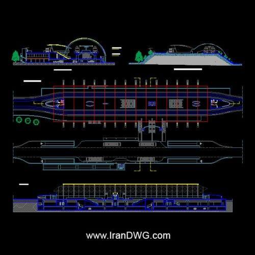 آلبوم نقشه های معماری ایستگاه مترو و قطارشهری شماره 1 به همراه نما و برش