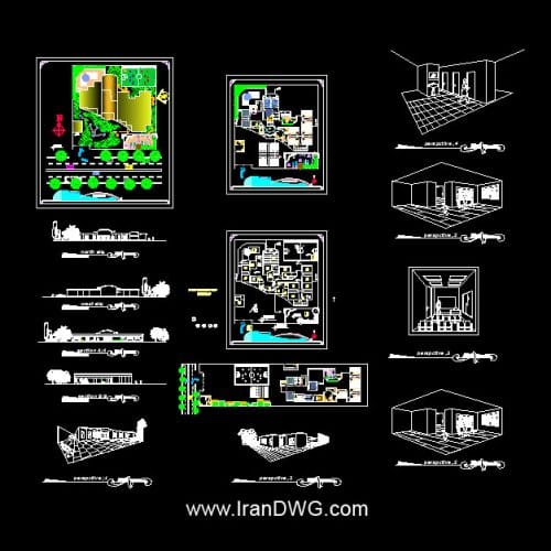 آلبوم نقشه های معماری مدرسه با پرسپکتیو به همراه نما ، برش و پرسپکتیو