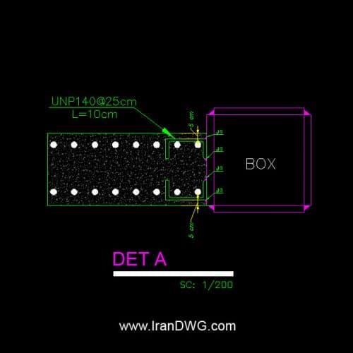 جزییات اجرایی اتوکد اتصال دیوار برشی به ستون فولادی باکس