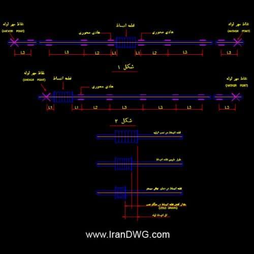جزییات اجرایی اتوکد اتصال انبساطی لوله به همراه دیتیل ها و توضیحات اجرایی