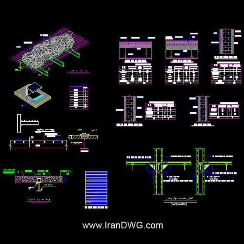 مجموعه جزییات اجرایی اتوکد سقف کامپوزیت به همراه بارگذاری | جزییات اجرایی کامپوزیت ( مرکب ) | جزییات اجرایی اتوکد برشگیرها و آرماتور بندی | اتصال سقف کامپوزیت به دیوار برشی | جزییات اجرایی اتوکد بارگذاری سقف طبقات و پشت بام | بارگذاری دیوار های نمادار ، بدون نما و جداکننده داخلی | توضیحات اجرایی کامل ویژه پیمانکاران