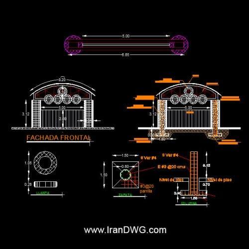 طراحی سردر و ورودی ساختمان شماره 7 ( مناسب برای فضا های باغی ) به همراه نقشه سازه