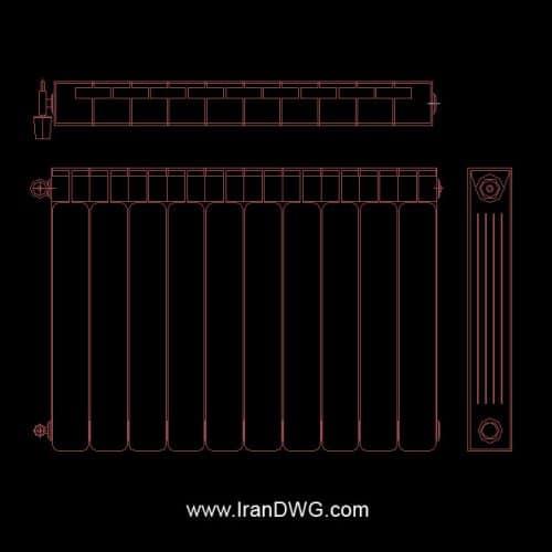 بلاک اتوکد رایاتور و شوفاژ ( به همراه نمای طولی و عرضی )