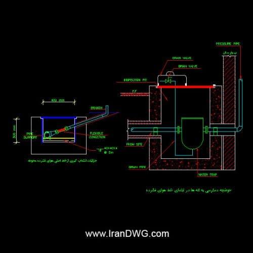 جزییات اجرایی اتوکد سیستم تاسیسات هوای فشرده